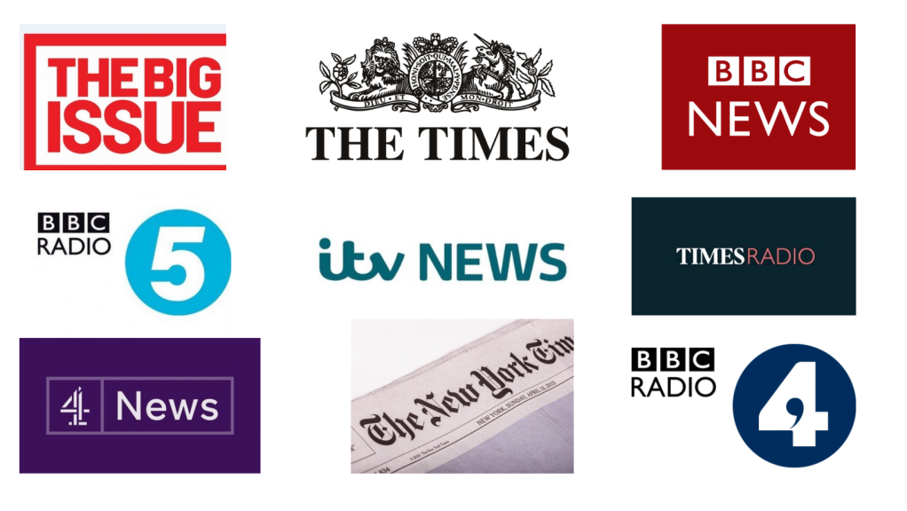 Collection of logos of media outlets: Big Issue, The Times, BBC News, BBC Radio 4 and 5, ITV News, Times Radio, Channel 4 News and New York Times.