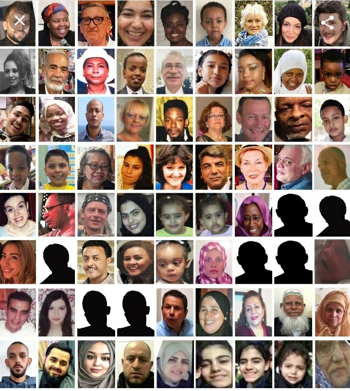 Faces of those who lost their lives at Grenfell Tower - mixture of ages, genders and ethnicities