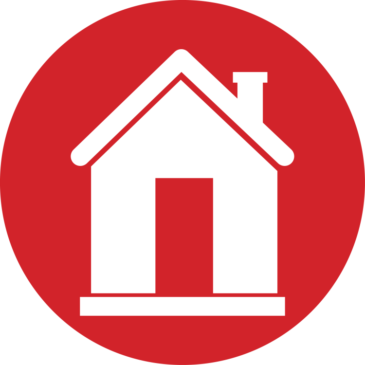 Red icon of a house