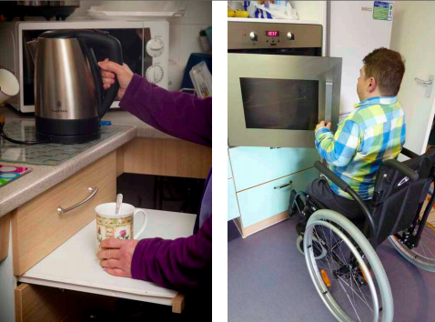 Two images side by side. One shows the arms of someone with purple sleeves reaching for a kettle, whilst holding a mug on a lowered counter. The other shows a wheelchair user opening an oven located at a suitable height.